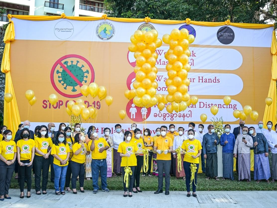 Group photo taken while the Covid-19 Prevention Yellow Campaign
