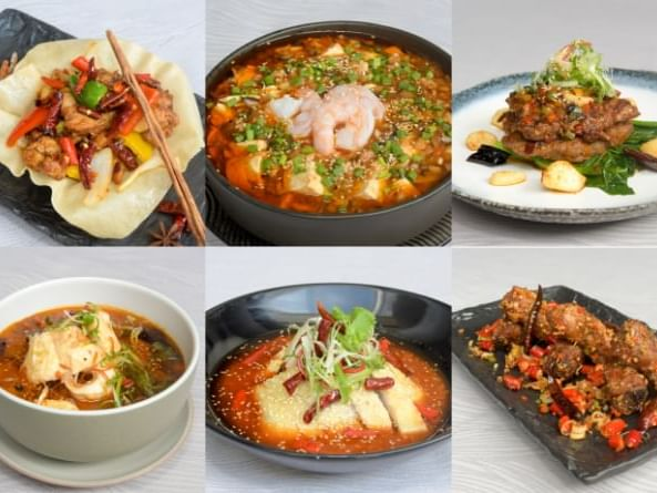 Dishes including Szechuan Spice at Chatrium Hotel Riverside