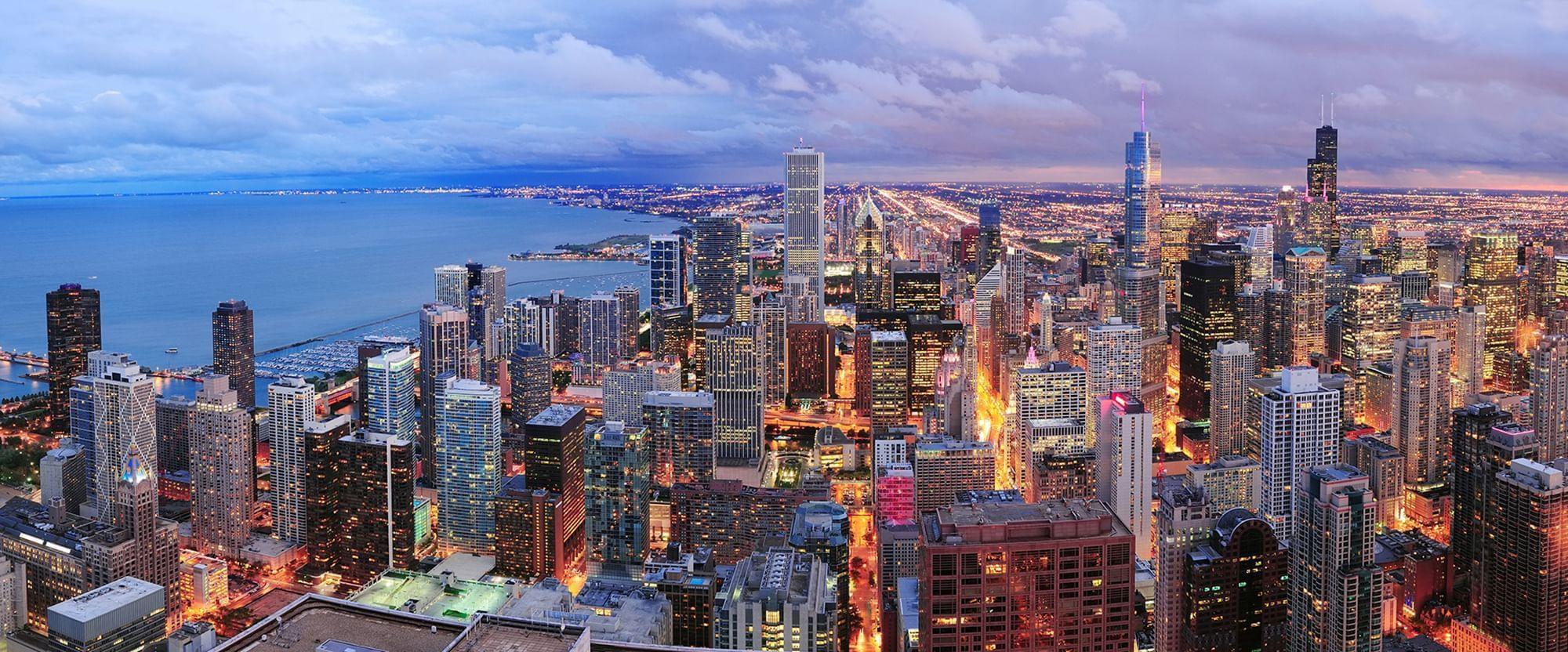 شيكاغو - مشهد بانورامي عند الغسق