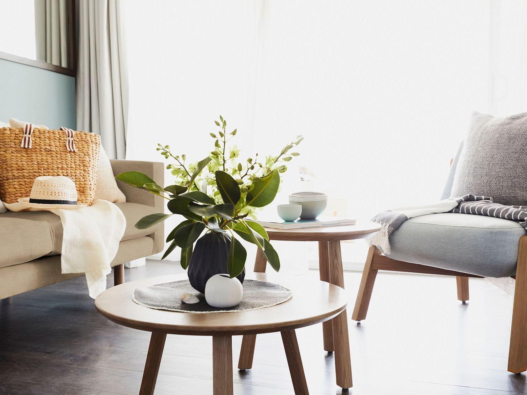 Living area in Deluxe Ocean Terrace at Daydream Island Resort