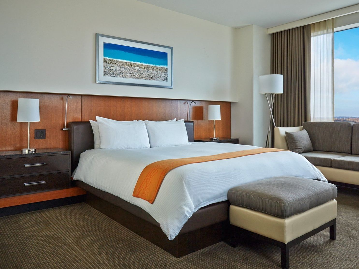 a bed in a hotel room