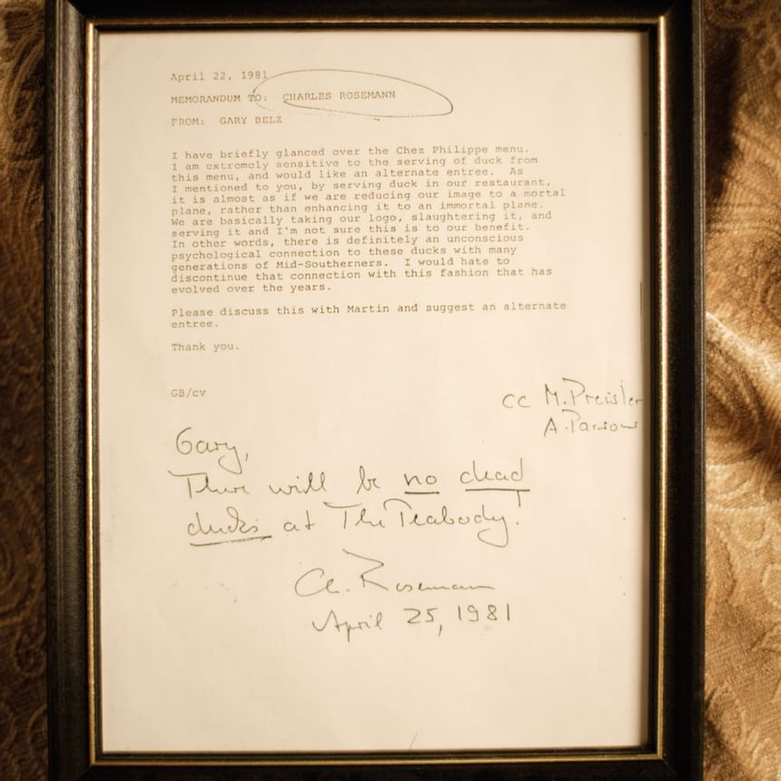 A letter from 1981 at Peabody Hotels & Resorts