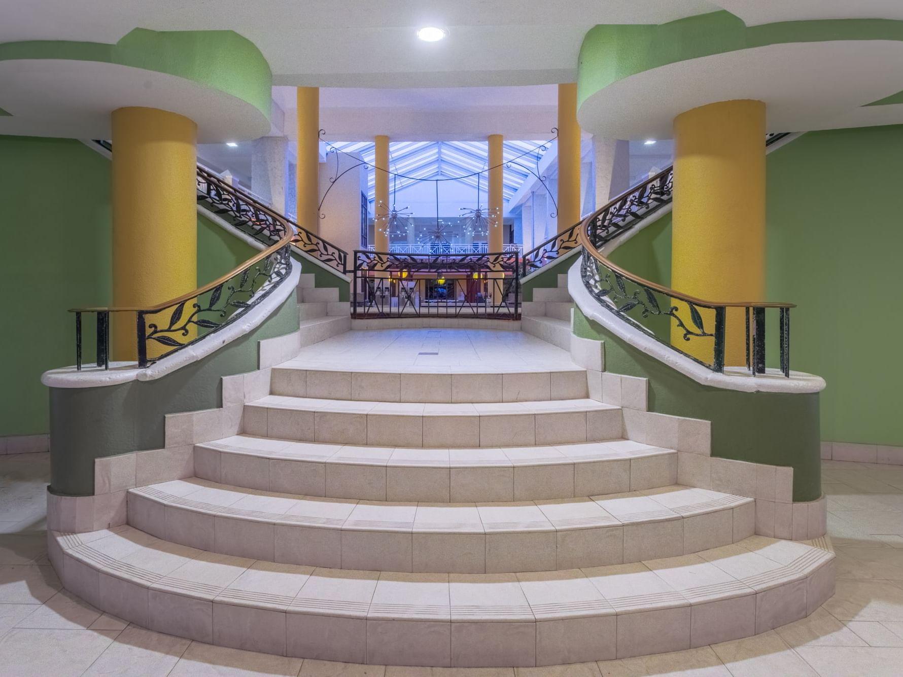 The grand staircase at Holiday Inn Montego Bay