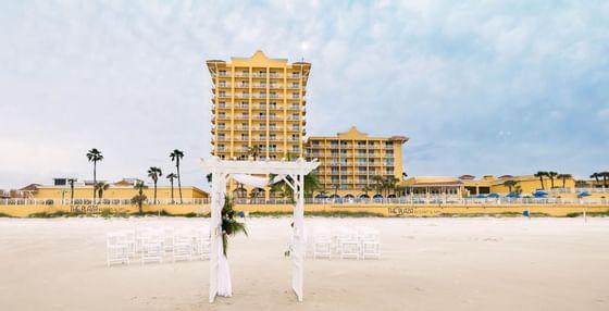 Daytona Beach wedding venue in front of The Plaza Resort & Spa