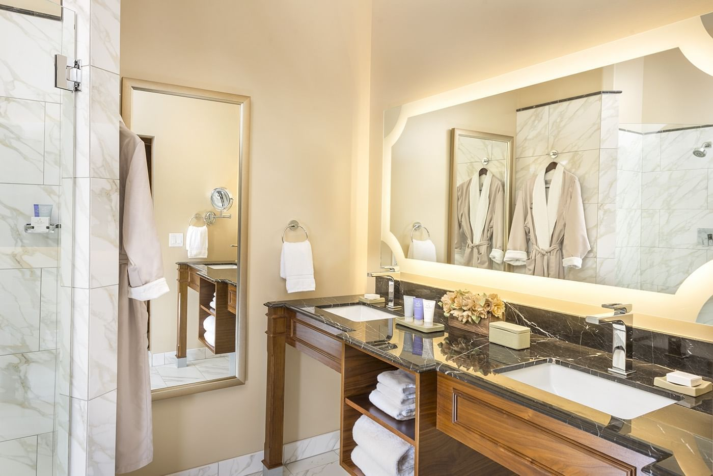 Our guest room bathroom with two sinks, full length mirror, and