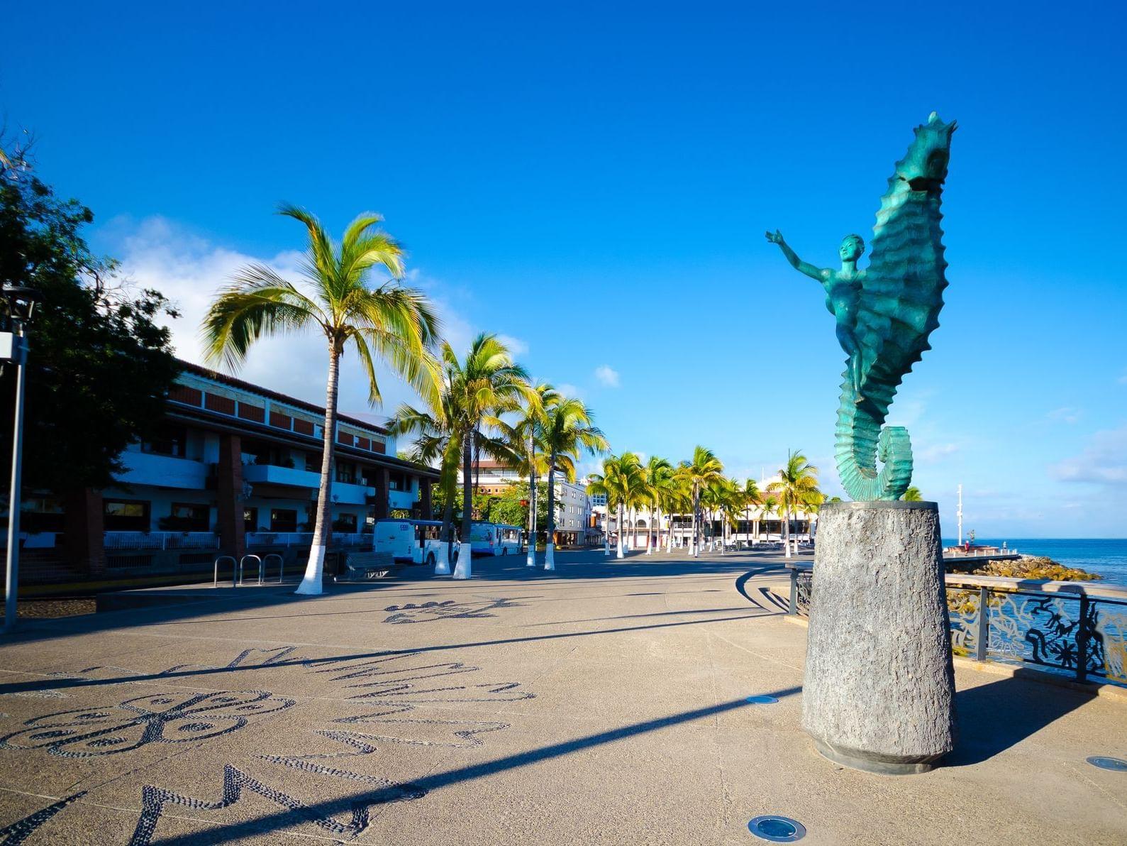 a seahorse statue