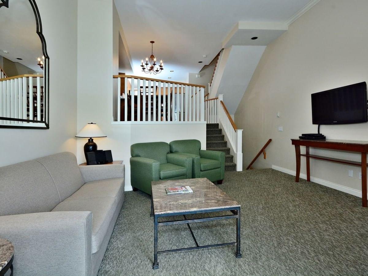 Living area in the Two Bedroom Gardenside Villa at Manteo Resort