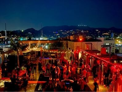 Aerial view of a party in Highlight Room at Dream Hollywood LA