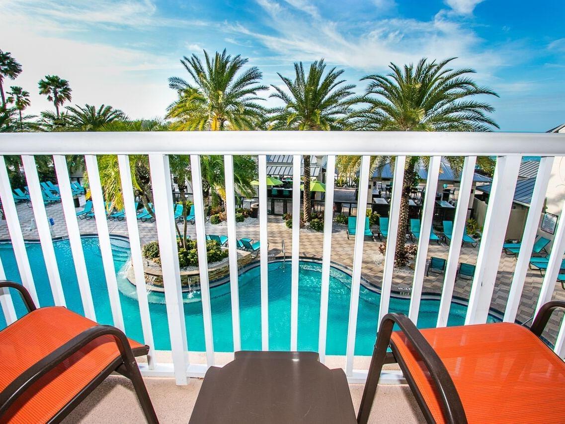 Balcony of Pool View room at Shephard's Beach Resort