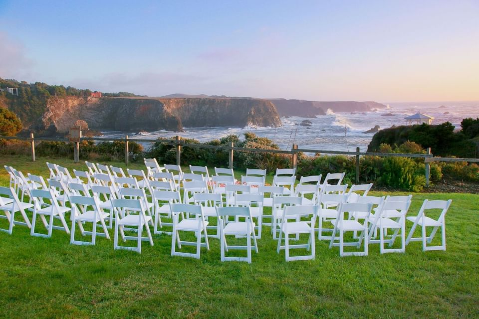 Chairs organized outdoors at The Heritage House Resort