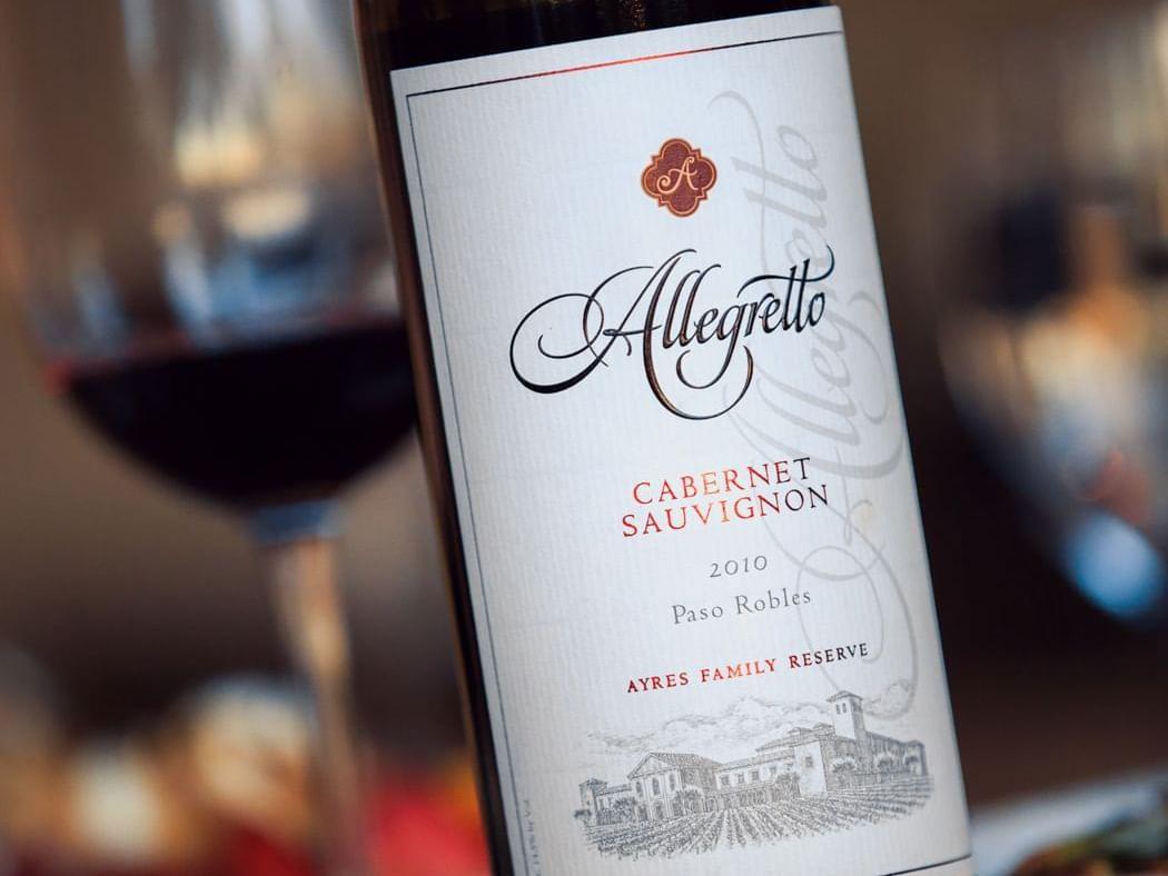 Allegretto wine bottle and wine glass