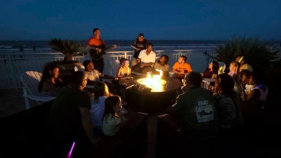 Fire pits on the Atlantic Ocean, Seabreeze Terrace, People havin