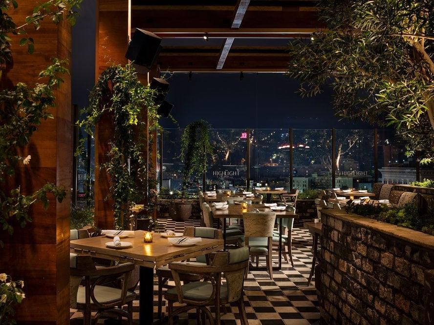 Dining area of Highlight Room in Dream Hollywood LA at night