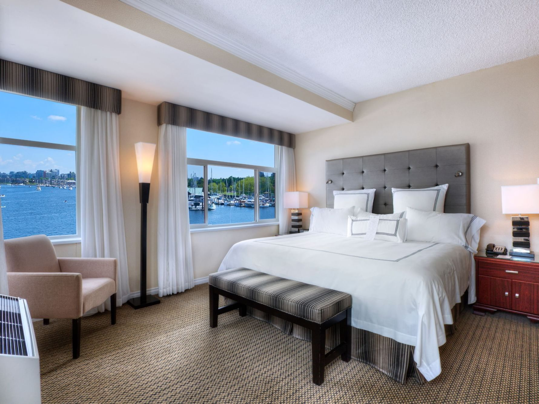 Superior Waterfront Rooms bedroom at Granville Island Hotel