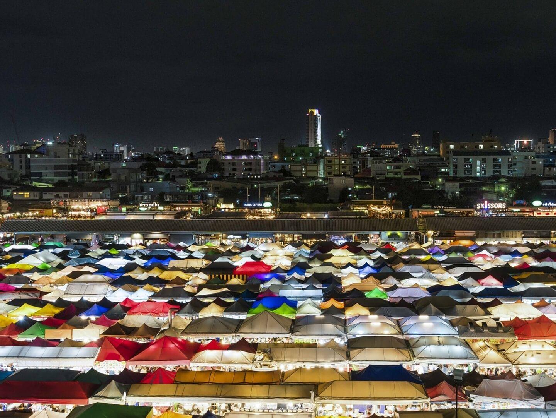 Rot Fai market in the Ratchada near Chatrium Hotel Riverside Bangkok