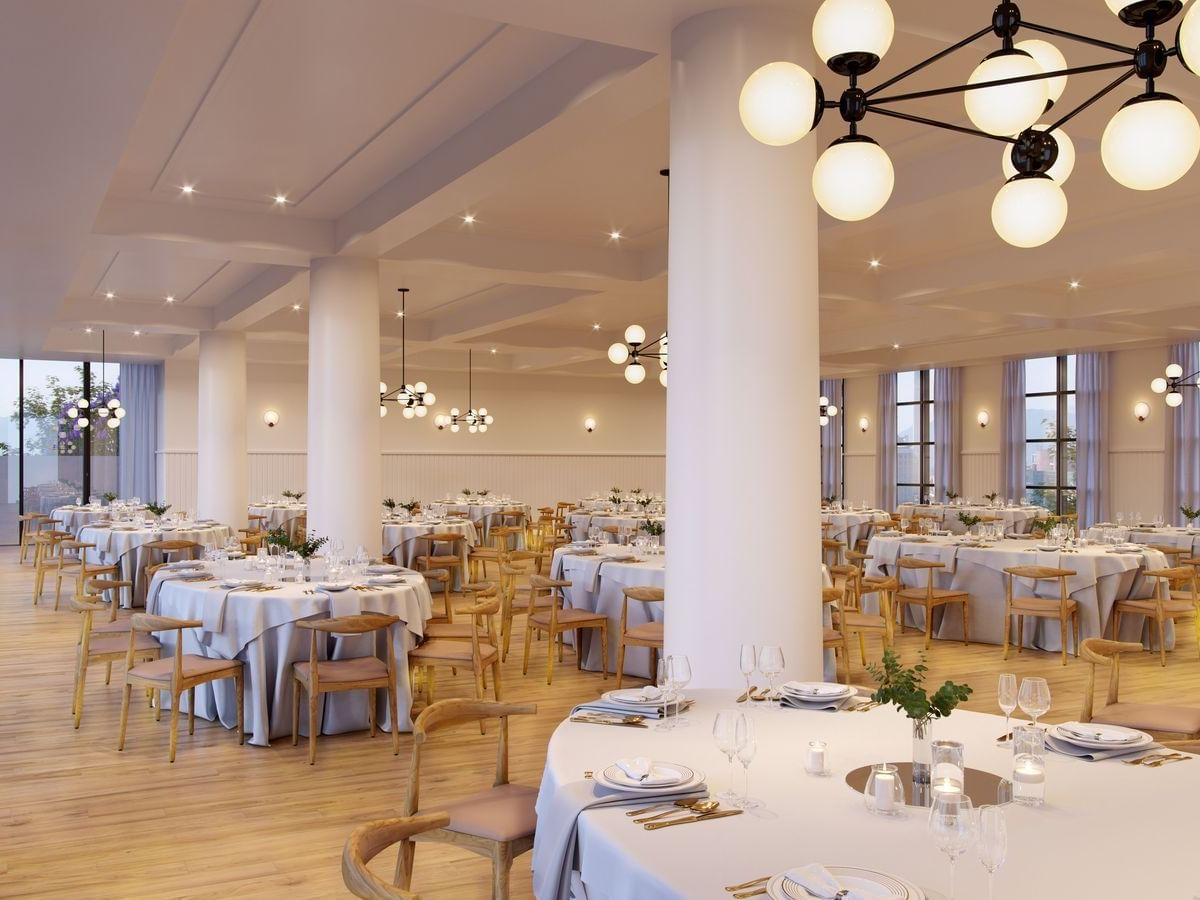Dining area at large banquet hall in The Rockaway Hotel