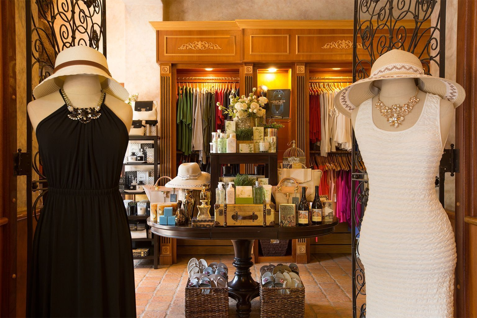 entrance to shop with dresses and accessories