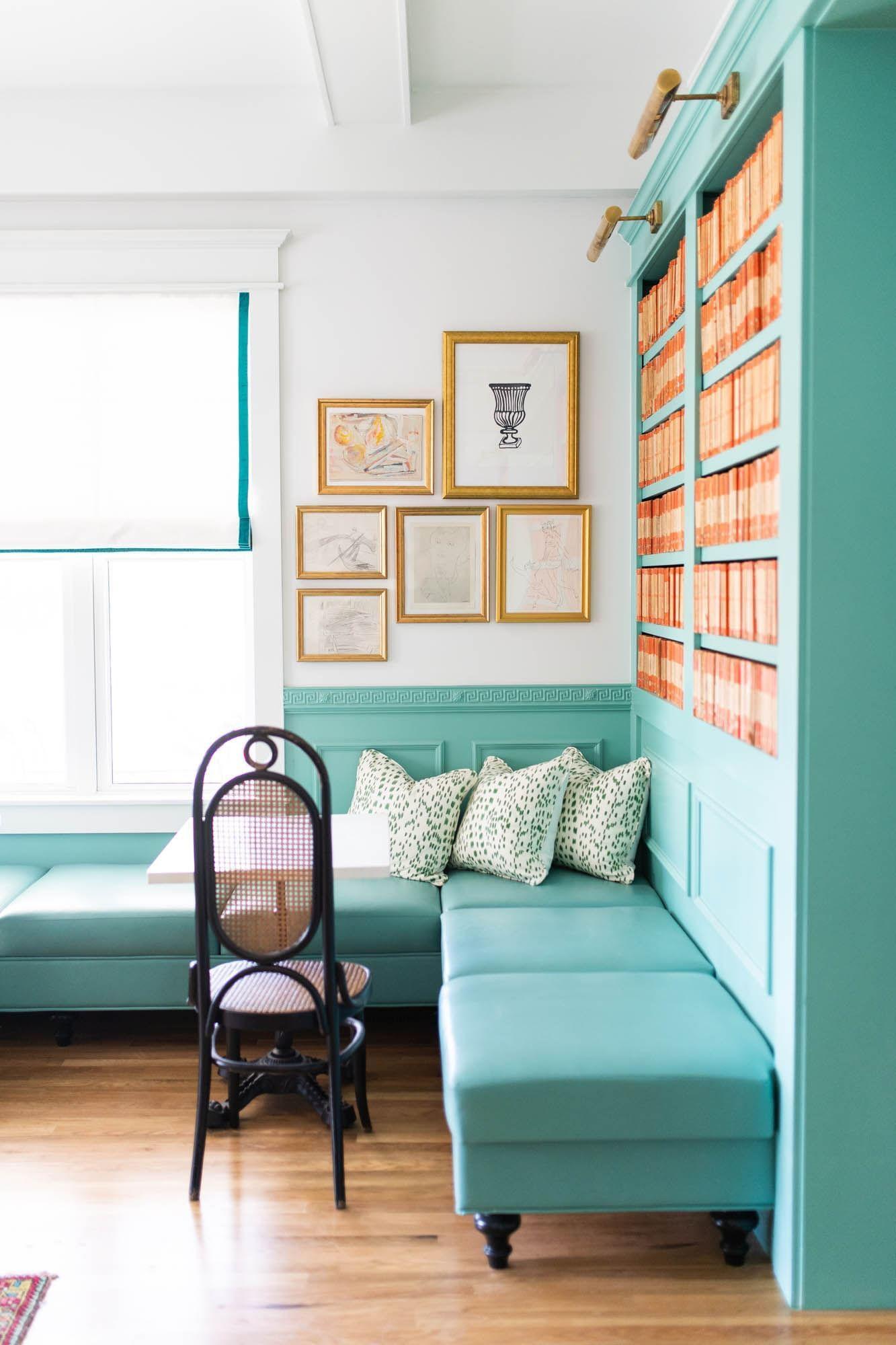 blue book shelf with blue seats