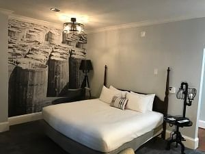 Side view of the beautiful bedroom at River Street Inn