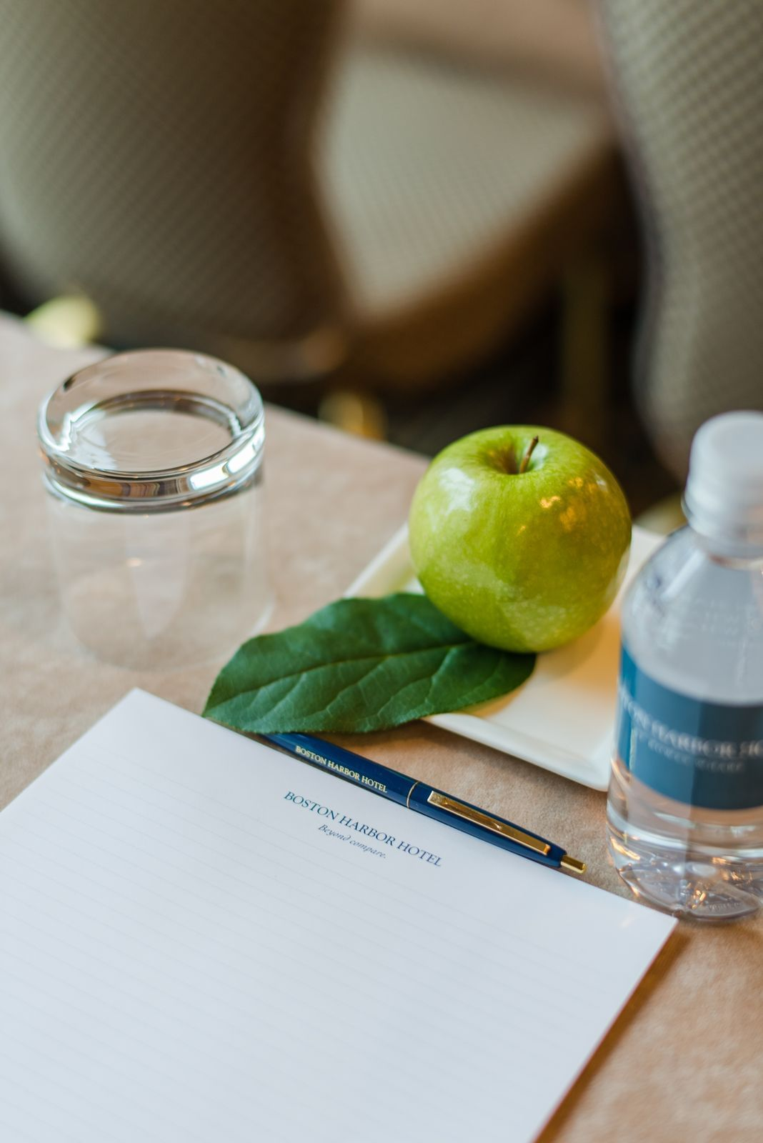 Green apple and bottle of water