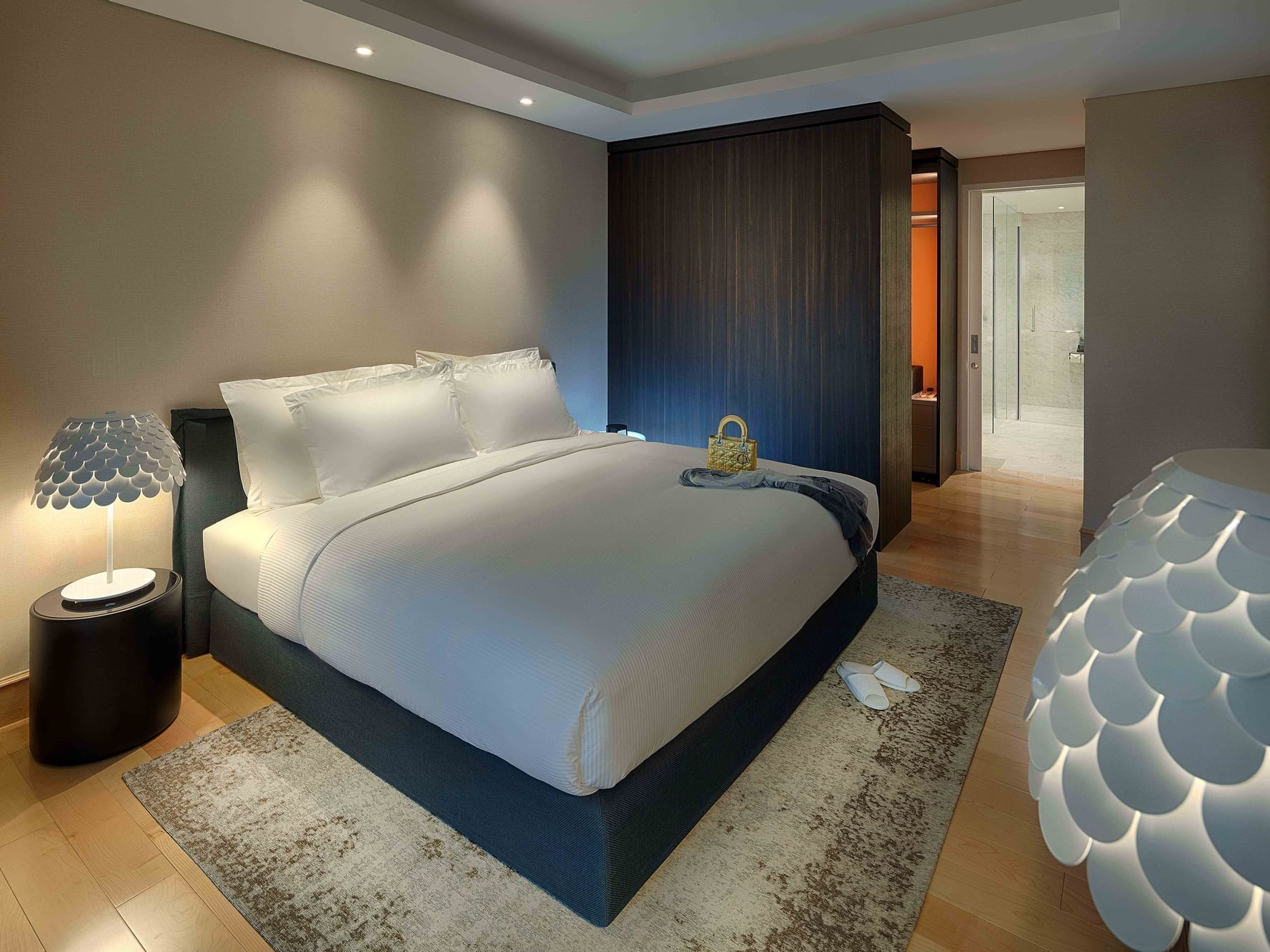 luxurious hotel room with king bed