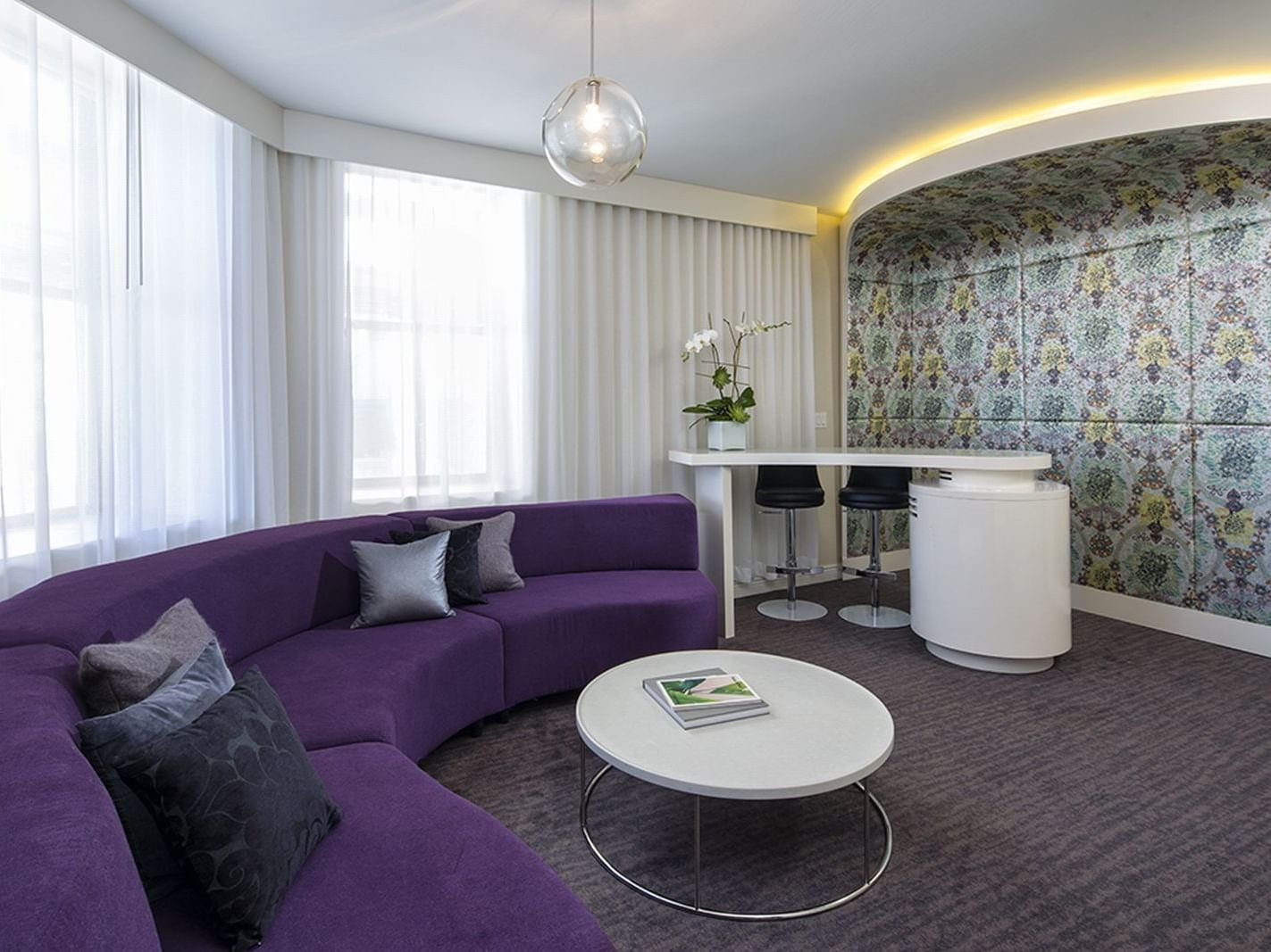 Separate living room in the Platinum Suite at Dream Midtown NYC
