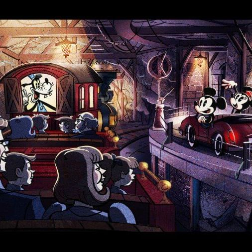 a cartoon of people on a ride at a theme park
