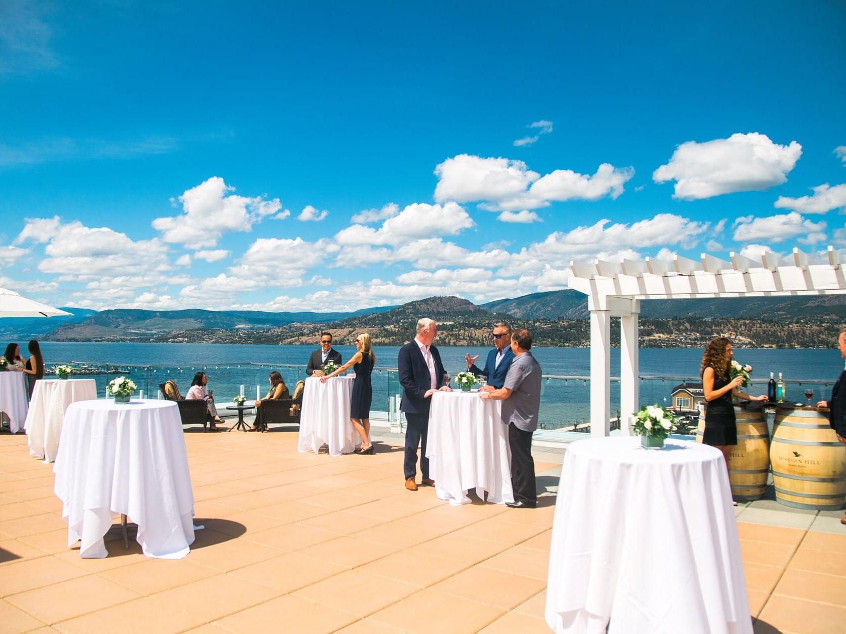 Wedding reception arrangements in the Sun Roof at Manteo Resort