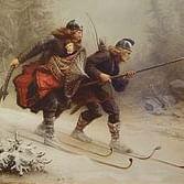 Birkebeiner men carry young Norwegian Prince