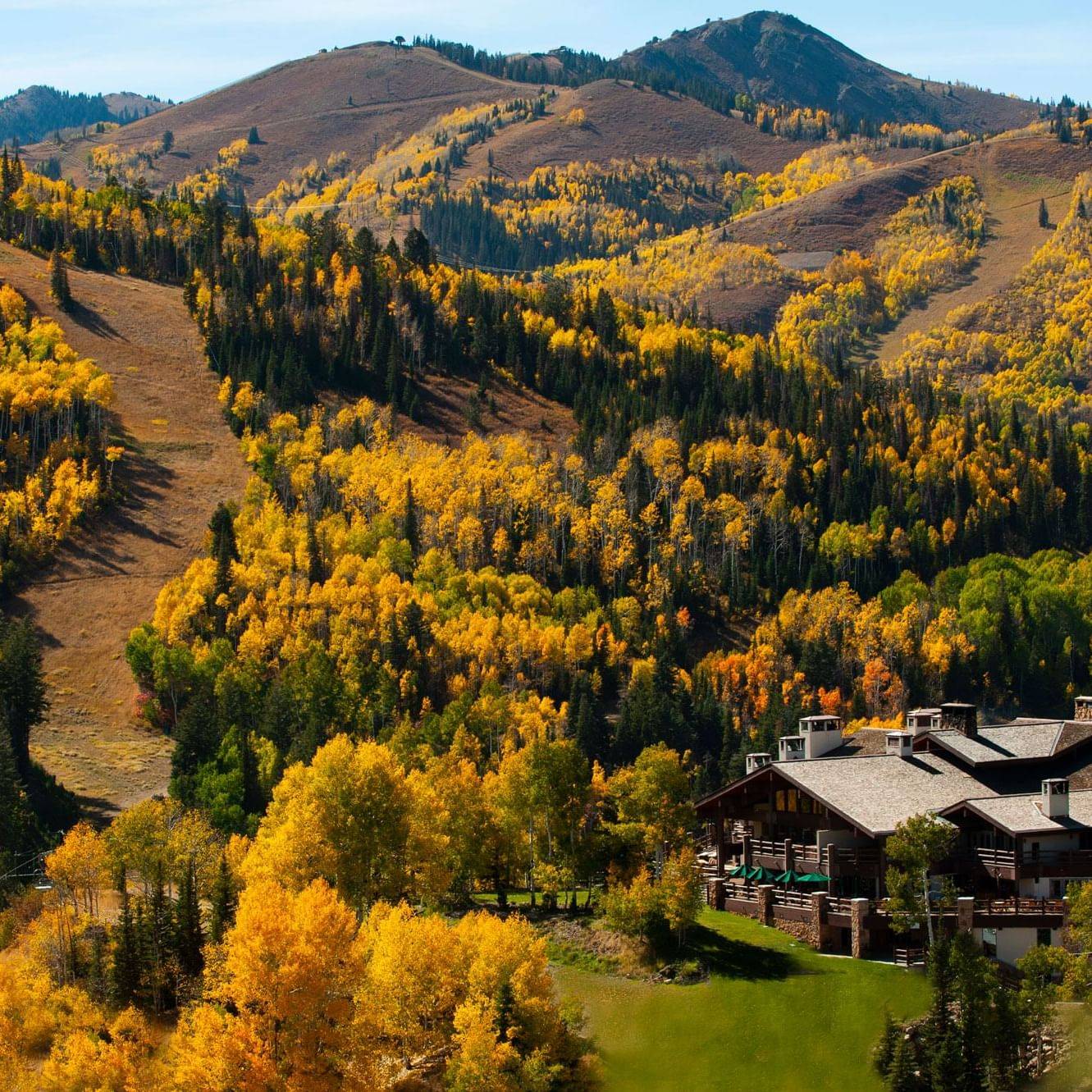 Stein Eriksen Lodge fall Deer Valley mountain views