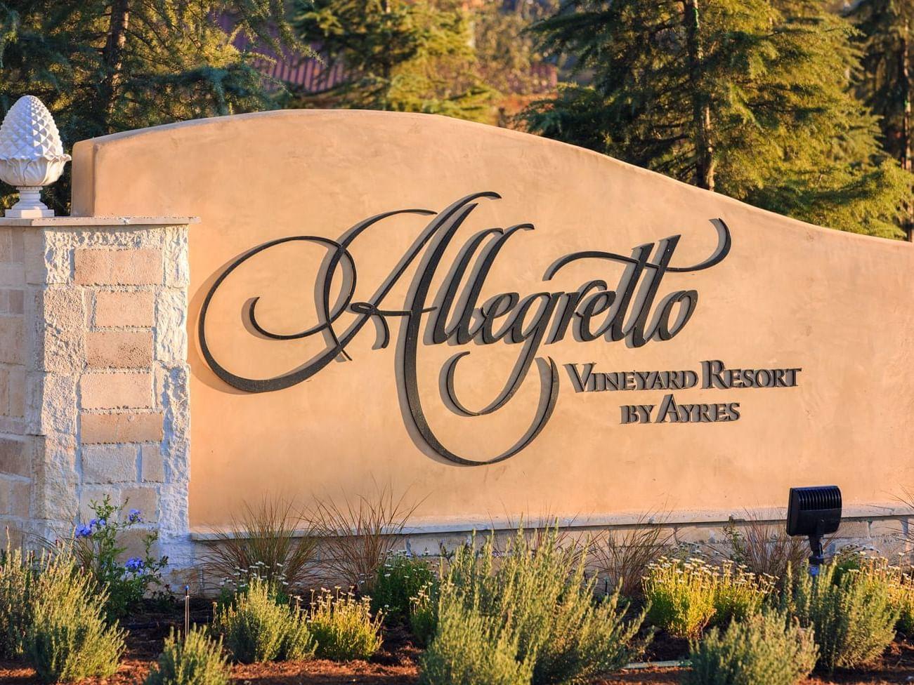 Allegretto Vineyard Resort sign at entrance
