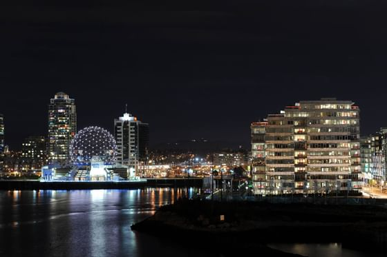 Night View of Vancouver near Granville Island Hotel