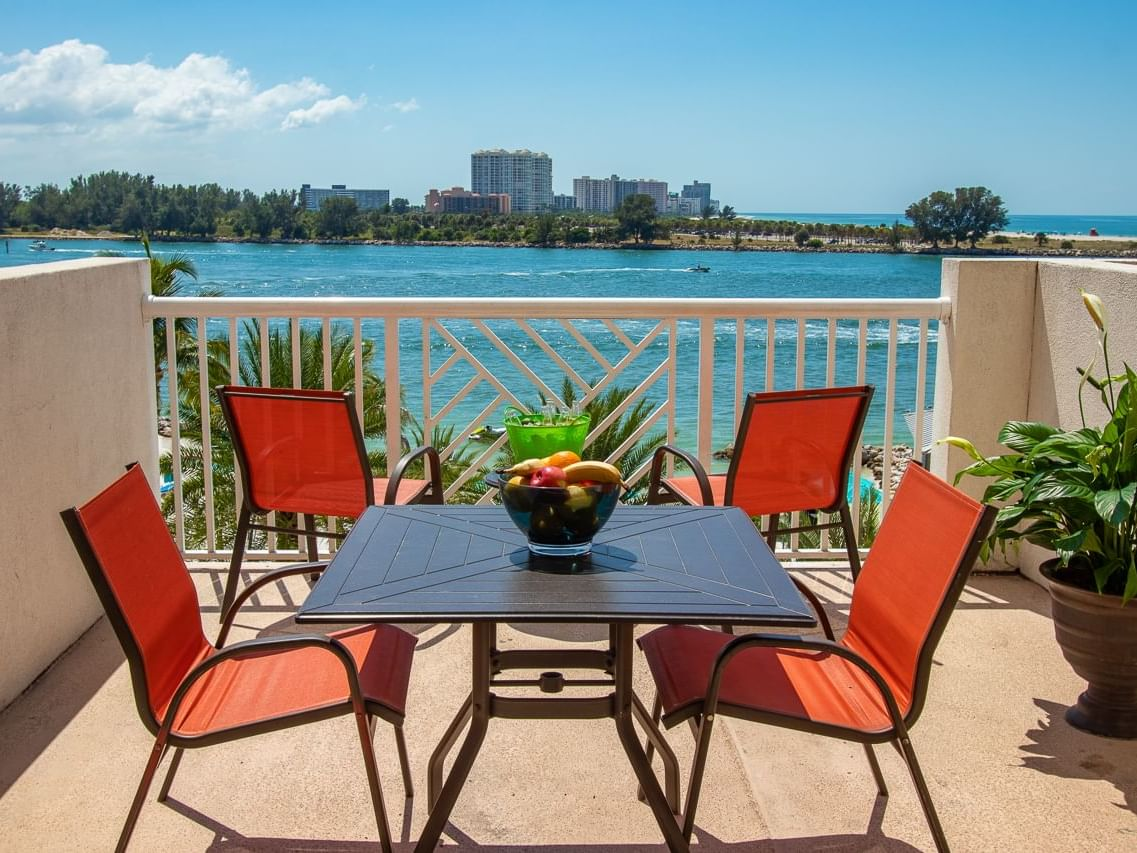 Balcony of Sand Key Terrace at Shephard's Beach Resort