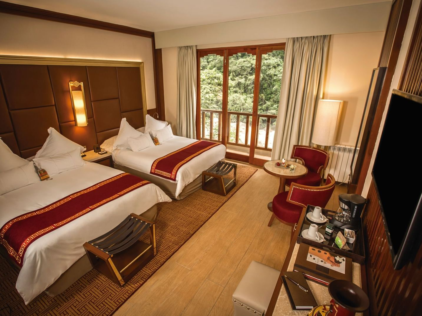 Sumaq Deluxe with river viewwith double beds at Hotel Sumaq