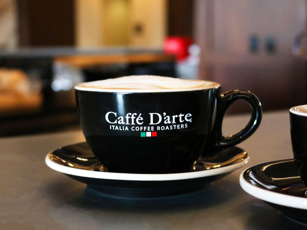 Caffe Darte latte at the Grove Hotel coffee bar