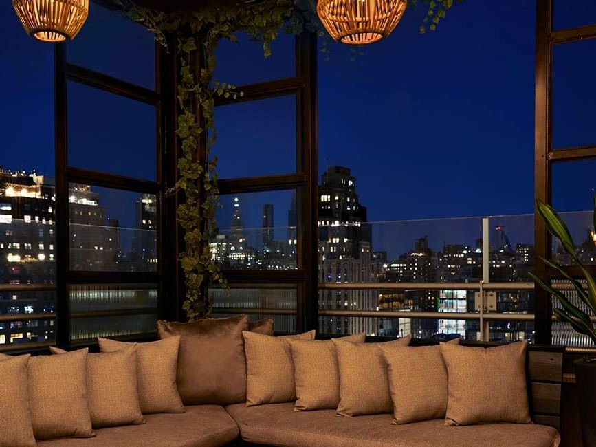 cozy seating at rooftop bar