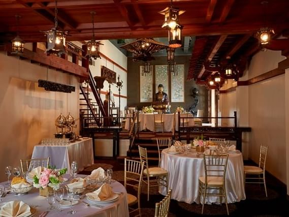 Mission Inn Ho-O-Kan venue with decorated tables and chairs