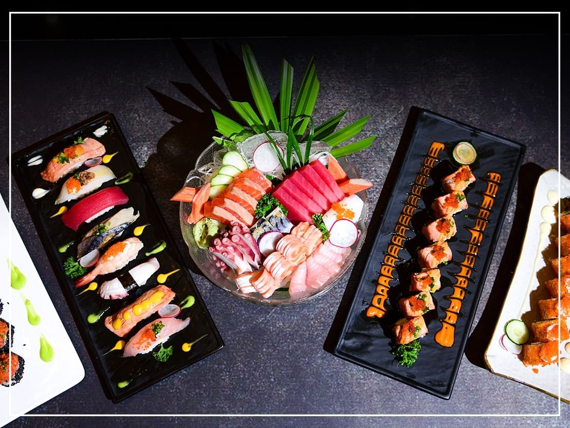 Top view of sushi and sashimi food at Chatrium Hotels & Residences