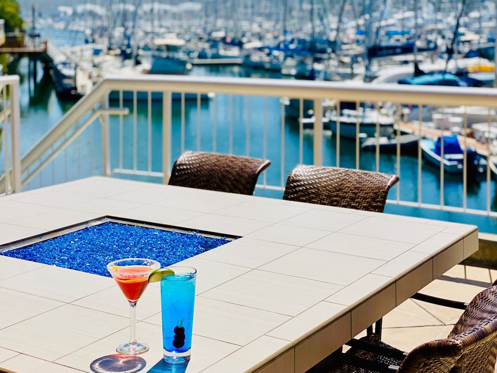 Fresh Drinks by the Patio overlooking the Bay at Bay Club Hotel
