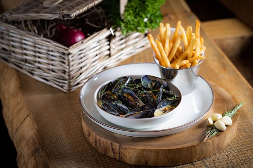 View of the Kensington food Moules frites at Scoff & Banter