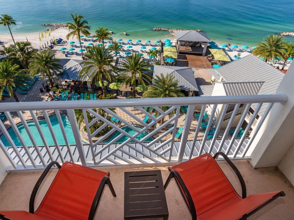 Balcony of Gulf-View room at Shephard's Beach Resort