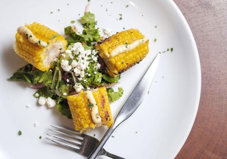 Close up of a Corn dish in Placita Restaurant at El Blok Hotel
