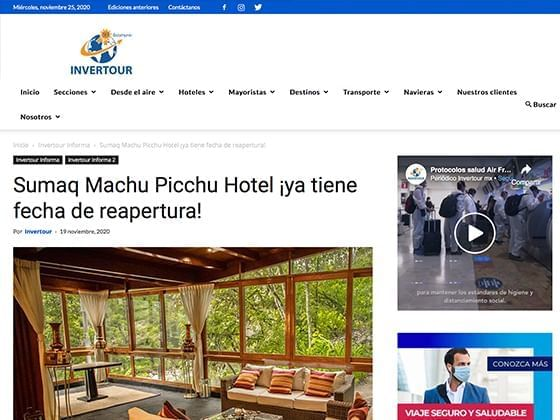 Article image published on Invertour  about Hotel Sumaq