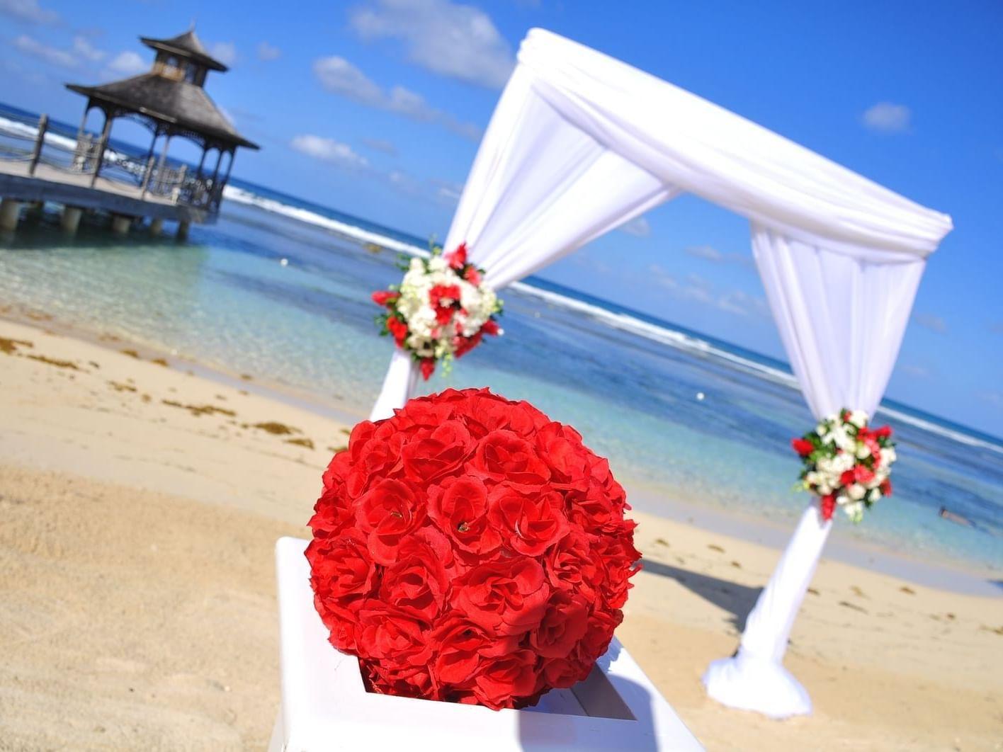 Wedding setup on the beach near Holiday Inns Montego Bay