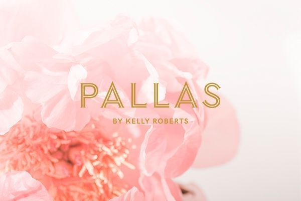 Pallas by Kelly Roberts Logo on flower background