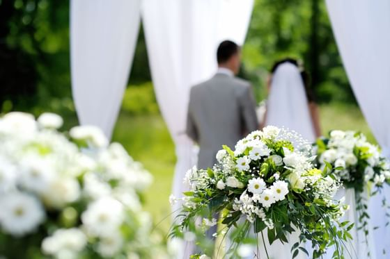 Wedded couple at their ceremony at Artyzen Grand Lapa Hotel Maca