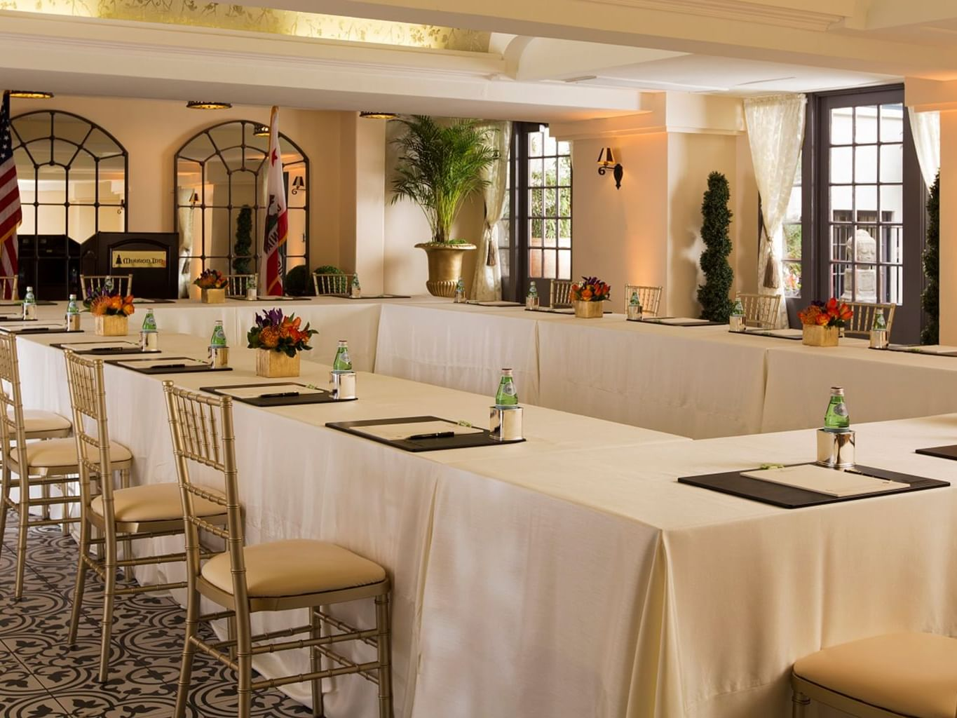 Mission Inn ballroom with rectangular table and chairs