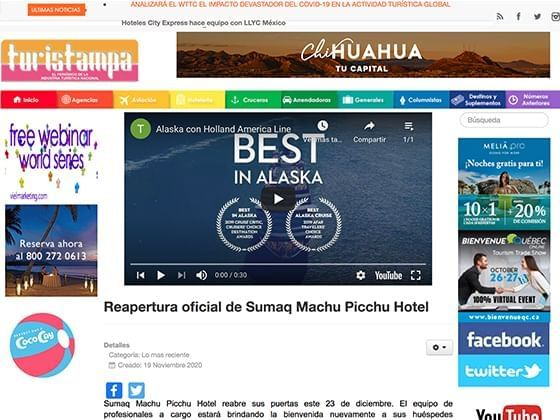 Article image published on Turistampa  about Hotel Sumaq