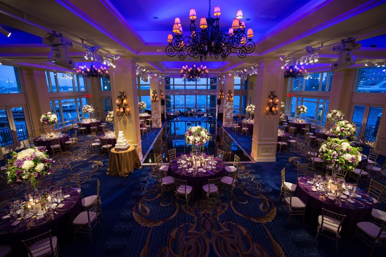 Wharf Room set for wedding reception