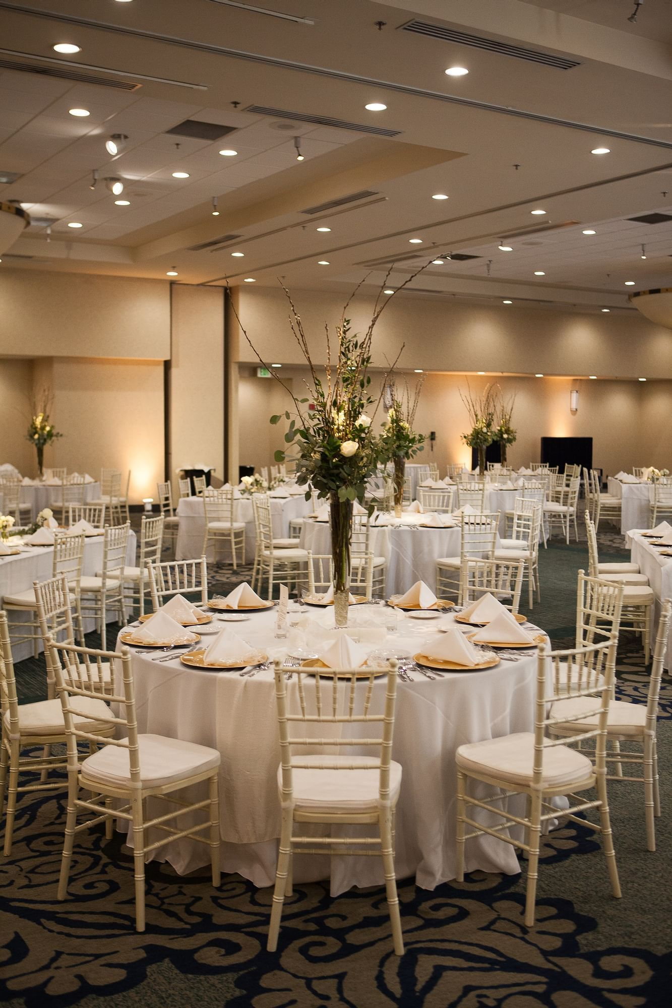tables and chairs in a ballroom